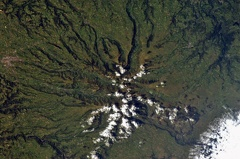 Auvergne volcanoes, Aurillac, France from ISS