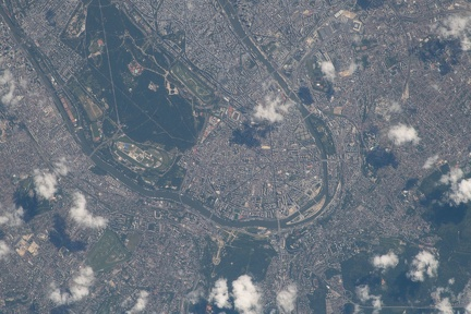 The French capital of Paris, the Seine River and Bois de Boulogne