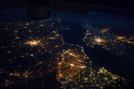 France & more, at night, from ISS